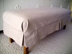 Bench Slipcover Canvas Tailored Skirt Bedroom by AppleCatDesigns