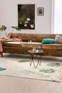 Slide View: 2: Tropical Greens Washable Rug