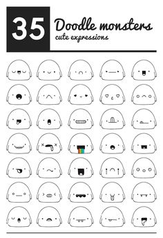 60 kawaii faces and expressions Easy Doodle Art, Doodle Art Drawing, Doodle Sketch, Drawing Drawing, Doodle Monster, Monster Drawing, Cute Easy Drawings, Cute Kawaii Drawings, Kawaii Doodles