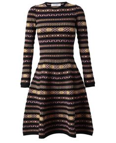 Abstract Argyle Knitted Dress