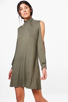 #boohoo High Neck Split Sleeve Swing Dress - khaki #Hedda High Neck Split Sleeve Swing Dress - khaki
