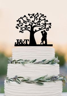 Love Tree Wedding Cake Topper, Mr and Mrs topper, Cake Decor ,Wedding – DokkiDesign
