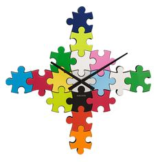 PUZZLE CLOCK | Timepiece, Watch, Wall Piece, Custom Timepiece, Colorful, Jigsaw | $39.99 UncommonGoods