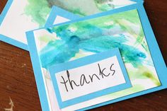 Kid-made Thank You cards. I think I'll get the kids to do these for all the holidays/birthdays... Easy!
