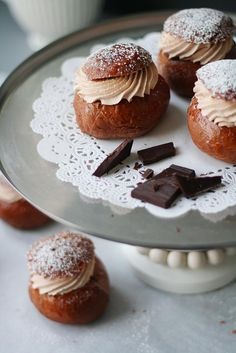 a chocolate Shrove buns Finnish Cuisine, Brioche Recipe, Food Photography, Muffin, Pudding, Bread, Chocolate, Baking, Breakfast