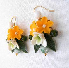 Flower earrings  Yellow earrings  Spring earrings  by insoujewelry, $25.00
