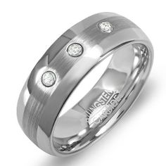 Tungsten Carbide Men's Ladies Unisex Ring Wedding Band 8MM (5/16 inch) High Polished Brushed Center Domed 3 Stone Cubic Zirconia CZ Comfort Fit (Available in Sizes 8 to 12) size 12 DazzlingRock Collection. $24.79