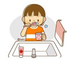歯磨きをする女の子のイラスト(ソフト)