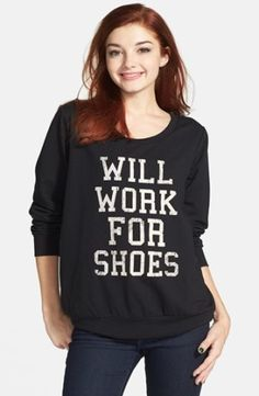 Starling 'Will Work for Shoes' Fleece Pullover