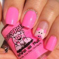 Cute Pig Nail Tutorial by The Crafty Ninja Pig Nail Art, Pig Nails, Cute Nail Art, Fancy Nails, Love Nails, Pretty Nails, Nails For Kids, Girls Nails, Cute Nail Designs