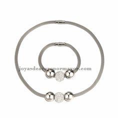 collar y bracelete con bola plateado y cristal en acero inoxidable para mujer -SSNEG481655