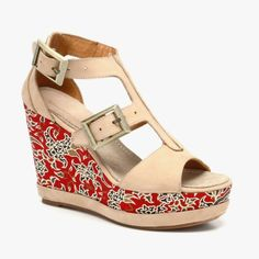 Batik Wedge Sandals In Cappuccino & Red (BLACKSTONE4 1070193)
