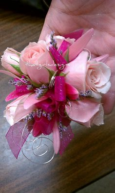 Pink wrist corsage with wire accent. Prom Corsage And Boutonniere, Corsage Wedding, Bridesmaid Bouquet, Prom Flowers, Bridal Flowers, Flower Bouquet Wedding, Flower Corsage, Wrist Corsage, Bridezilla