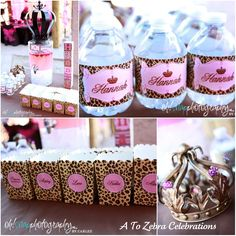 Cheetah Print Party Theme Supplies | Leopard plates and napkins are from Paper Style . The pink plastic ...