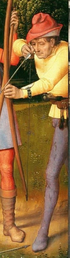 Hans Memling -- Triptych of the Resurrection **Note archer's protective guard at wrist.**