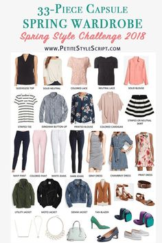Spring Capsule Wardrobe | 33-piece capsule seasonal clothing and outfits | PSS Style Challenge | Petite fashion and style blog | Daily outfit ideas and inspiration | Daily style tips | Dress me for 5 weeks | Bonus outfits | Women's Shopping Guide for Spring | KonMari Method | Marie Kondo Philosophy #women'sfashiontipsandstyleguide
