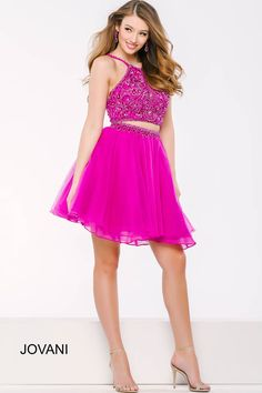 Pink is the new black in this #jovani 40819 two piece dress.