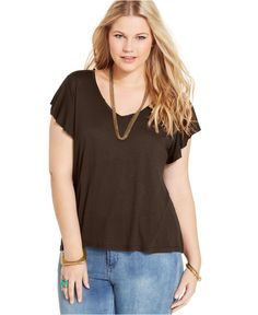 American Rag Plus Size V-Neck Flutter-Sleeve Tee - Tops - Plus Sizes - Macy's
