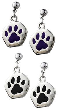 Purple Paw Print Dangle Earrings at The Animal Rescue Site
