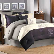 Mulberry Bedding Superset - bedroom comforter to accent our deep purple wall.