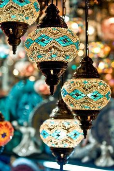 One corner can have a bunch of colored moroccan lamps