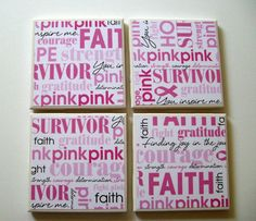 Breast Cancer Awareness Coasters  Set of 4  Pink by MitzsCreations