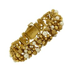 Yellow Gold Pearl and Gold Ball Bracelet