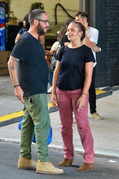 Jemima Kirke and her husband Michael Mosberg outside the Pace Gallery for Jay Z's rt performance in New York City.