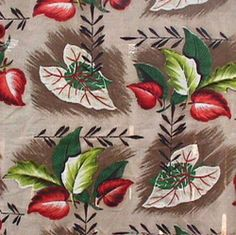 1950's tropical leaf print barkcloth