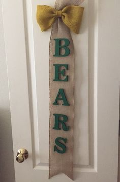 Burlap Baylor University Bears wall or door decor
