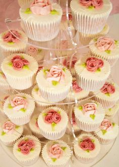 Classic Vanilla Cupcakes with Vanilla Cream Frosting and Antique Rose Embellishments