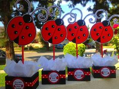 Ladybug centerpiece for birthdays baby by uniqueboutiquebygami, $17.00