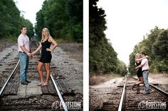 Southern style engagement session by the railroad