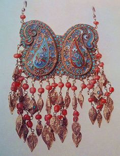 Frontal ornament, Khorezm (Uzbekistan), 19th c. Materials: silver [gilt], turquoises, corals. Techniques: enamelling and stamping. State Museum of History of Uzbekistan, Tashkent. Description (p. 250) and photo (p. 229) from *A Song in Metal: Folk Art of Uzbekistan* (Tashkent, 1986).