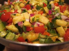 Pineapple & Avocado Salad   Check the below recipe.  This tasty and tropical salad is a great summer side dish that uses ingredients like fresh pineapple, avocado,tomato, onion,cucumber and pepper to create a perfect flavor combination.  Ingredients: ▪️ 1/2 a fresh pineapple ▪️ 1 avocado ▪️ 1 large tomato ▪️ 1 pepper, red or green ▪️ 1/2 a red onion ▪️ 1/2 a cucumber ▪️ Juice of two limes ▪️ Large handful of cilantro ▪️ Sea salt to taste ▪️ Sprinkle of cinnamon  Instructions