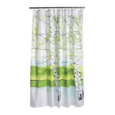 Beautiful birch trees shade you while you bathe with the Marimekko Kaiku Shower Curtain. Finland's national tree, the birch stands as a stunning symbol of nature and source of inspiration for design Ma