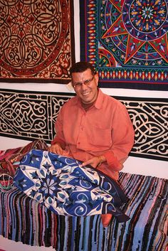 Hosam from Al Farouk with his work at the Festival of Quilts in Birmingham