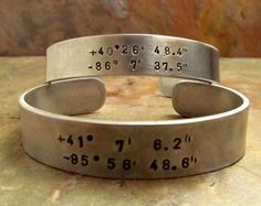 Cuff Bracelet - Personalized Hand Stamped Jewelry - Longitude and Latitude (qty.1) Mens Bracelet. $21.00, via Etsy.