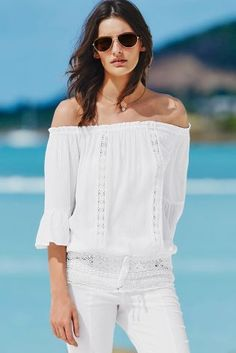 7ea57fd3d6daf8 An off the shoulder top screams summer to us