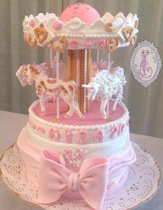 Carrusel cake - Cake by lagatadenata Beautiful Wedding Cakes, Gorgeous Cakes, Pretty Cakes, Amazing Cakes, Creative Birthday Cakes, Baby Birthday Cakes, Cake Decorating Techniques, Cake Decorating Tutorials, Carousel Cake
