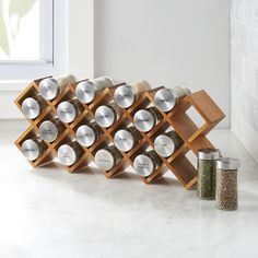 Acacia Wood Spice Rack - Crate and Barrel Wood Spice Rack, Diy Spice Rack, Spice Storage, Diy Kitchen Storage, Spice Holder, Cozy Kitchen, Kitchen Dining, Wall Mounted Spice Rack, Kitchen Spice Racks