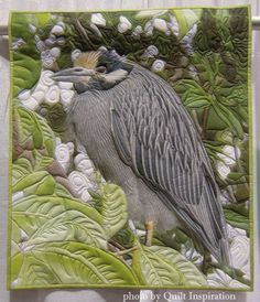 """Yellow Crowned Night Heron, 32 x 27"""", by Barbara McKie, Connecticut.  2015 Pacific International Quilt Festival - Part 4.  Photo by Quilt Inspiration."""