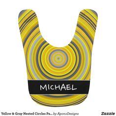 Yellow & Gray Nested Circles Pattern + Custom Name Baby Bibs, Baby Names, Circles, Gray, Yellow, Pattern, Design, Amp, Bibs