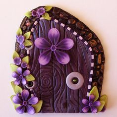 Purple Fairy Door by Claybykim on Etsy,