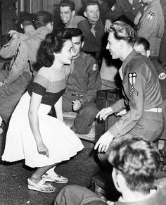 Soldiers and gals at a USO dance, 1944. #vintage #1940s #WW2  I wouldn't exist without the USO. Dad was from Brooklyn, NY, Mom was from Spokane, WA, and they met at the USO. She was the only dancer who could keep up with him!  It led to a marriage that lasted 50 years and only ended when she passed away. I still miss them sorely.