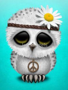Cute Baby Snow Owl Hippie on Blue