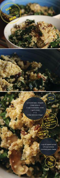 warm kale, quinoa, and mushroom salad Healthy Cooking, Healthy Eating, Cooking Recipes, Healthy Food, Couscous, Warm Salad, Quinoa Salad, Cooked Quinoa, Beyond Diet