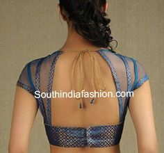 Brocade and Net Saree Blouse ~ Celebrity Sarees, Designer Sarees, Bridal Sarees, Latest Blouse Designs 2014