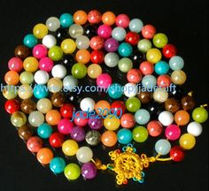 Free Shipping - Tibetan Buddhism Handcrafted natural Colorful STONE meditation yoga 108 Prayer Beads Mala necklace - jade2090 on Etsy, $40.27 CAD