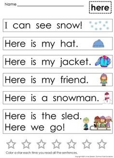 Kindergarten Sight Word Sentences and Games for Guided Reading Levels A and B First Grade Reading Comprehension, Phonics Reading, Teaching Phonics, Kindergarten Reading, Teaching Reading, Learning, Sight Word Sentences, Sight Word Worksheets, Sight Word Activities
